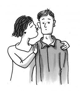 El sujeto aquí es la mujer, ella besa al hombre. El objeto es el hombre. (Los dibujos en el libro y aquí son Peter Auge Lorenz)